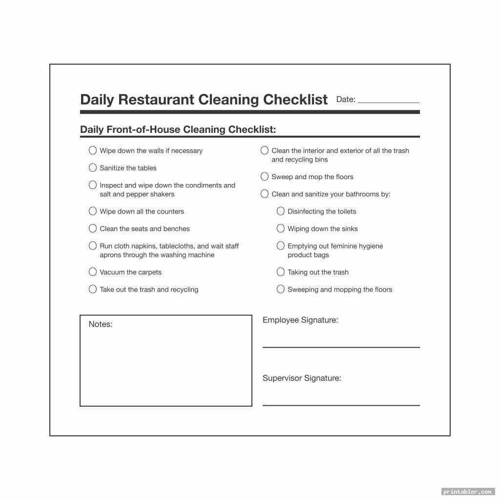 restaurant bathroom cleaning checklist printable image free