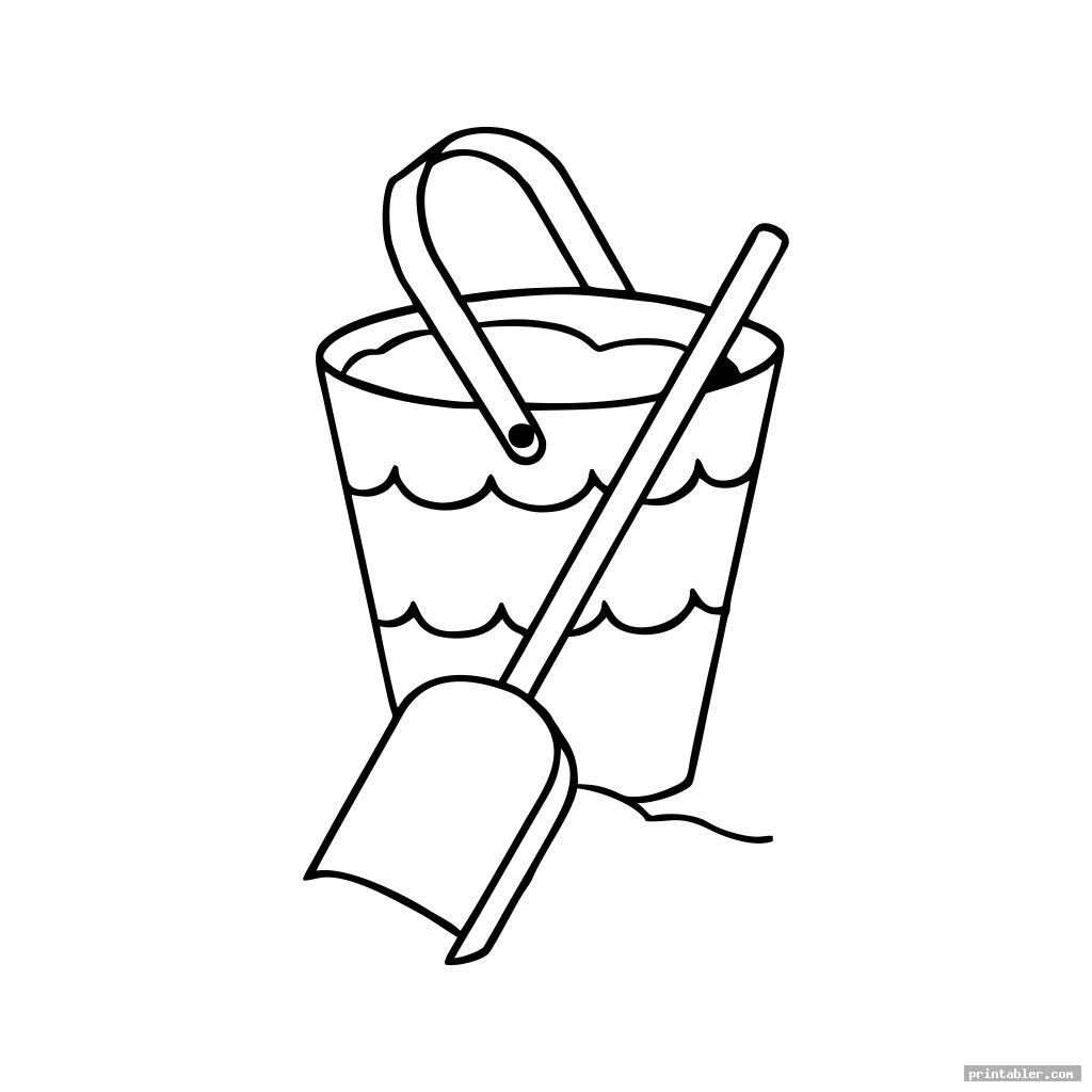 sand bucket and shovel coloring page printable for kids