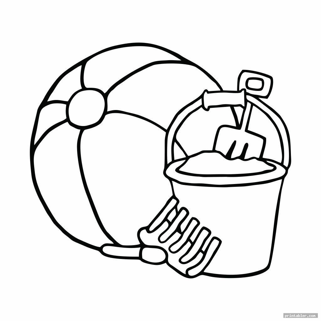 sand bucket and shovel coloring page printable image free