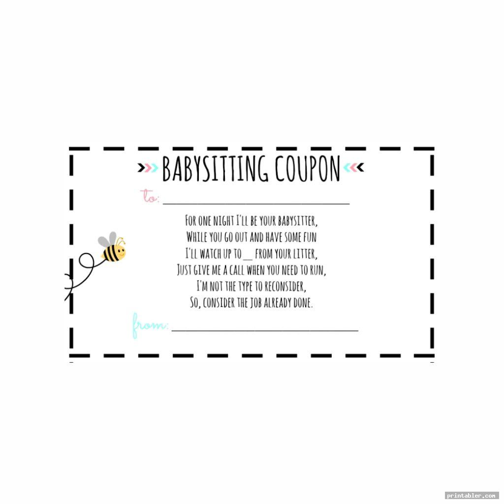 picture relating to Printable Voucher identified as Babysitting Voucher Printable -