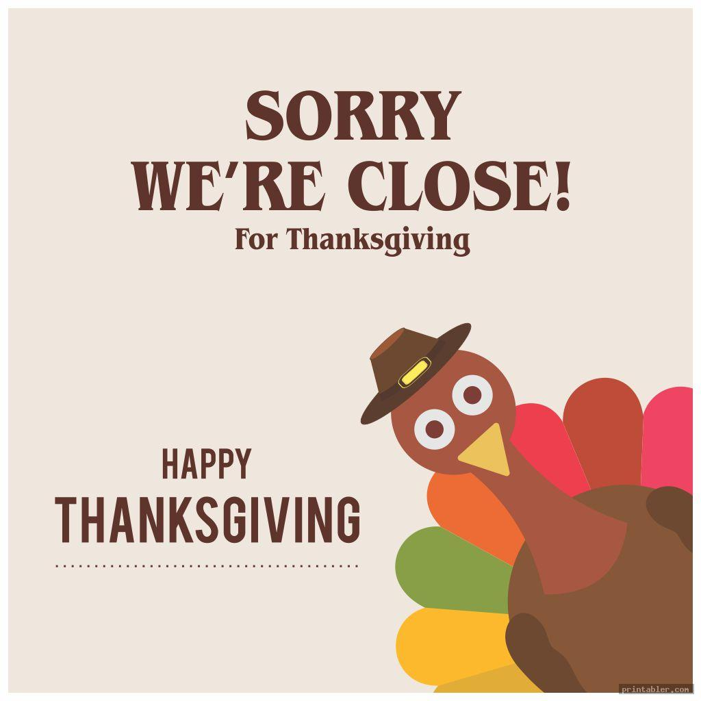 simple closed for thanksgiving sign printable
