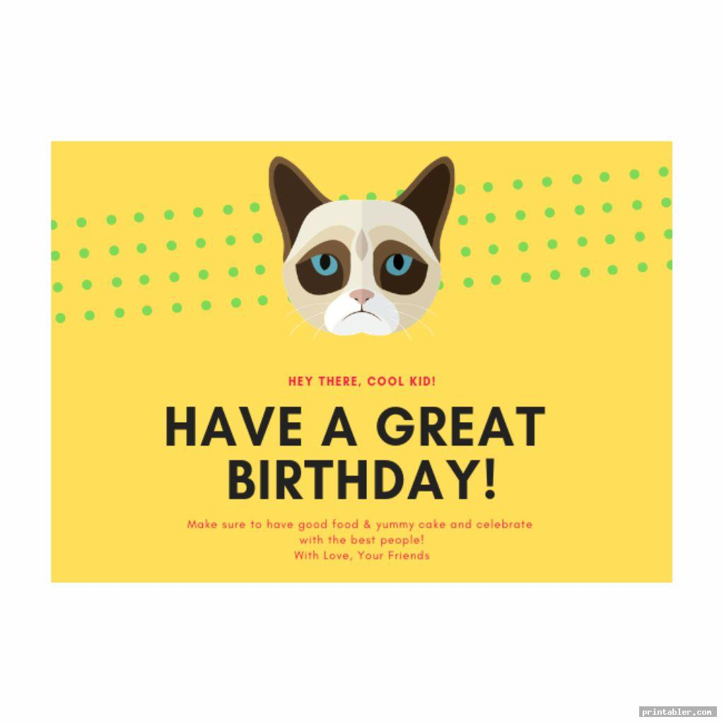 simple grumpy cat birthday card printable
