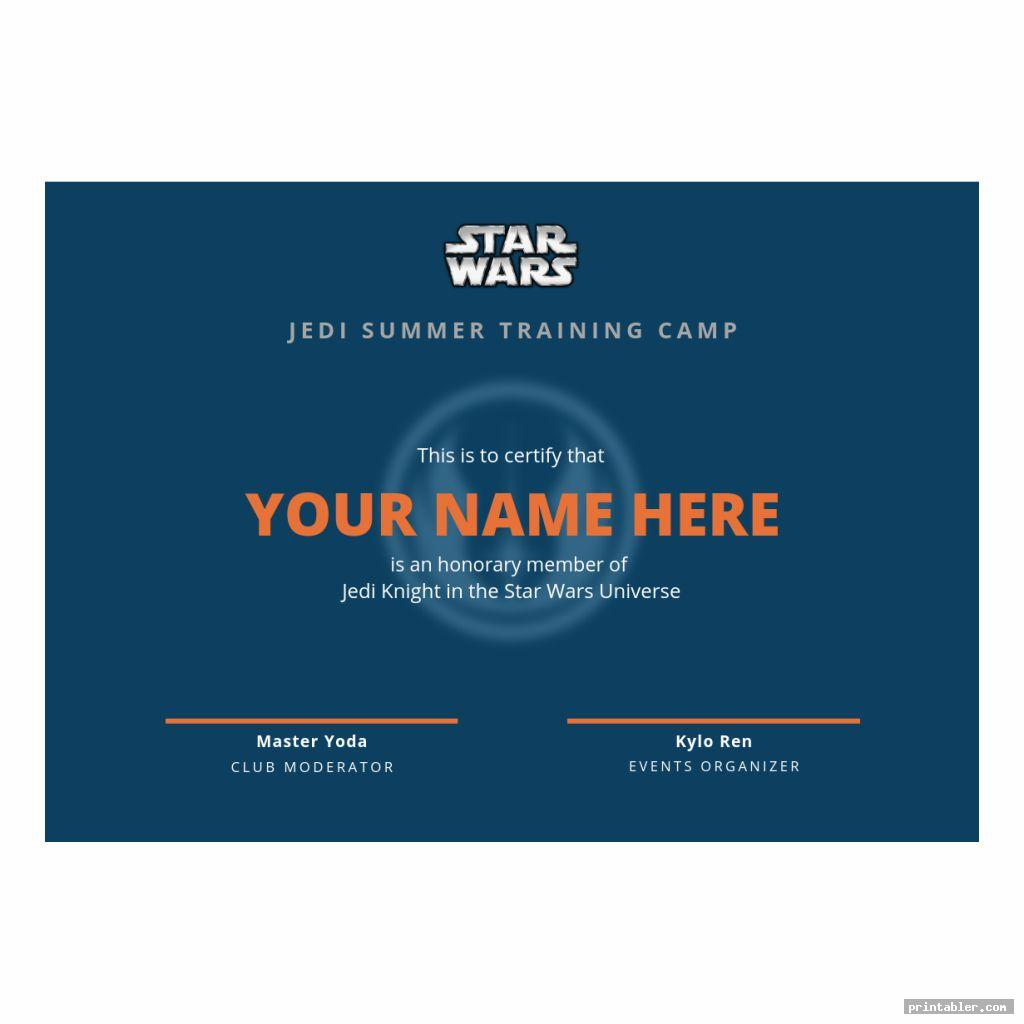 Jedi Training Certificate Printable