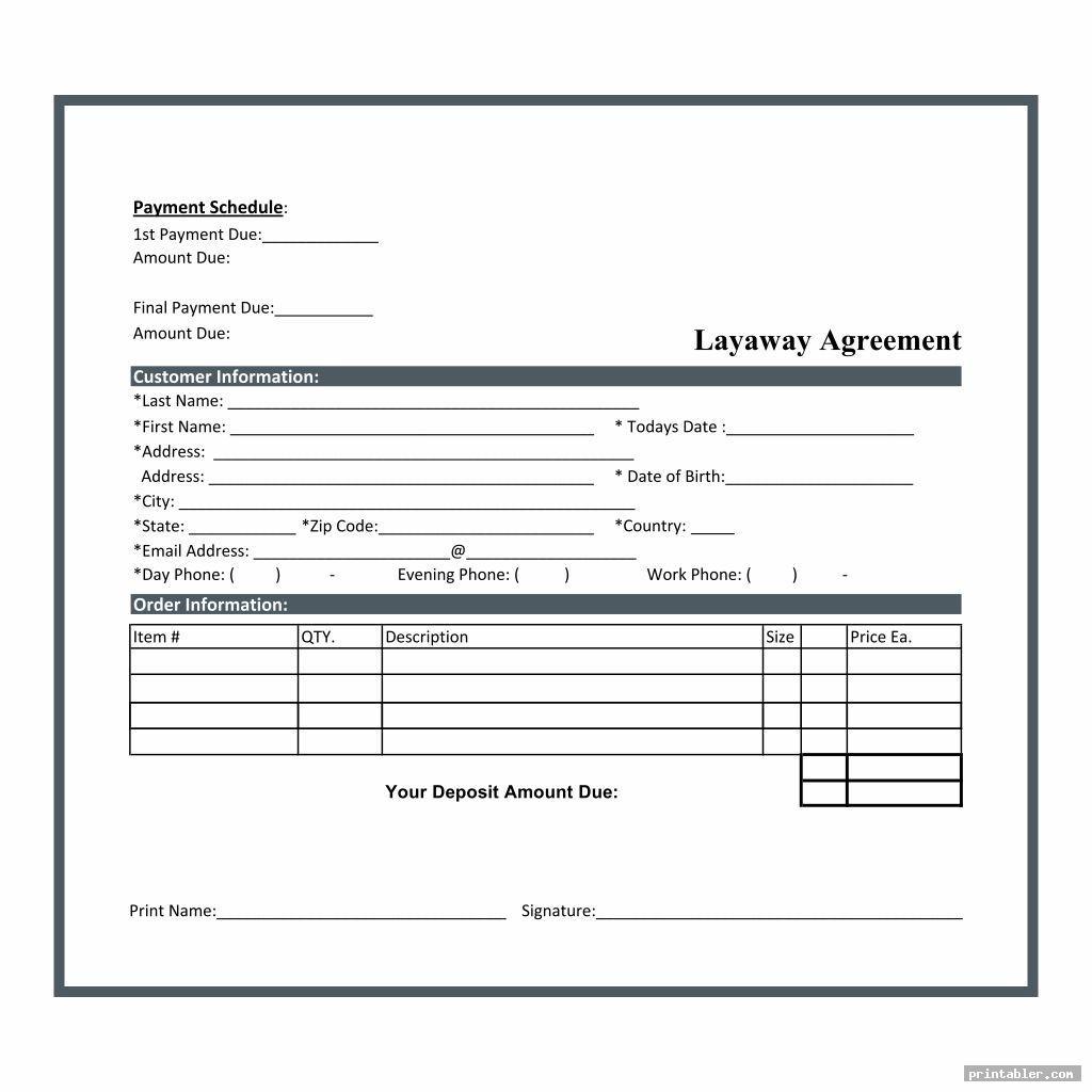simple layaway agreement form printable
