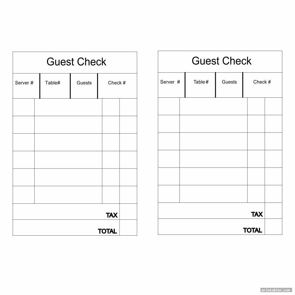 simple look printable guest check template