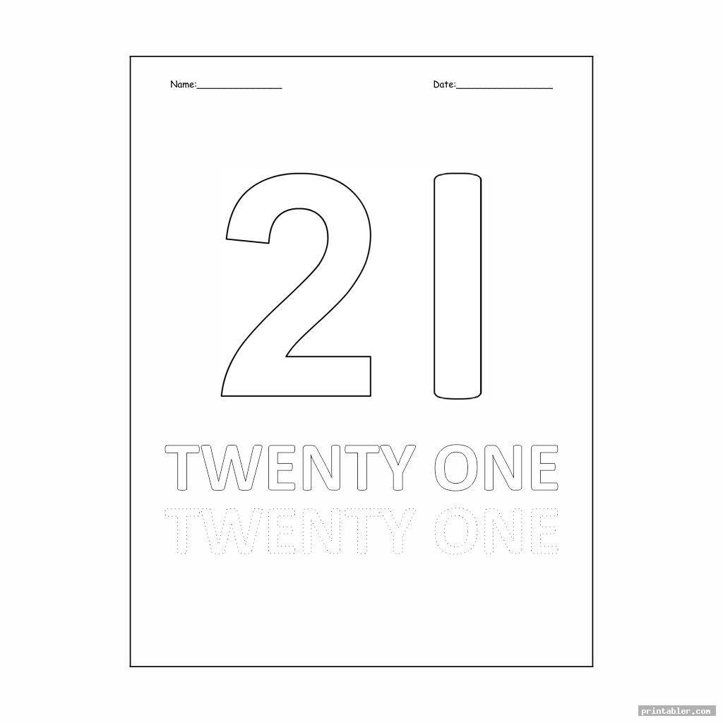 simple number 21 worksheet printable