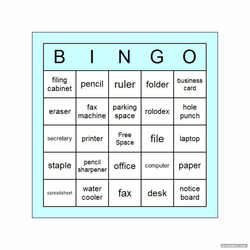 simple office bingo template printable