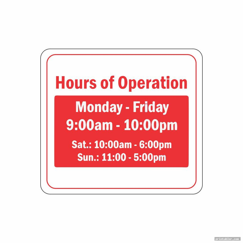 simple printable business hours sign