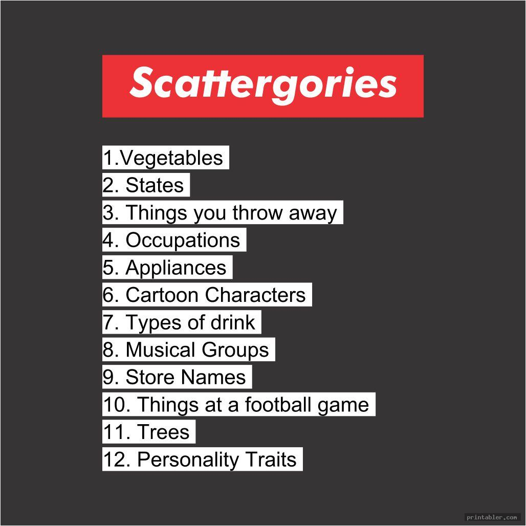 Scattergories Cards 1-12 Printable