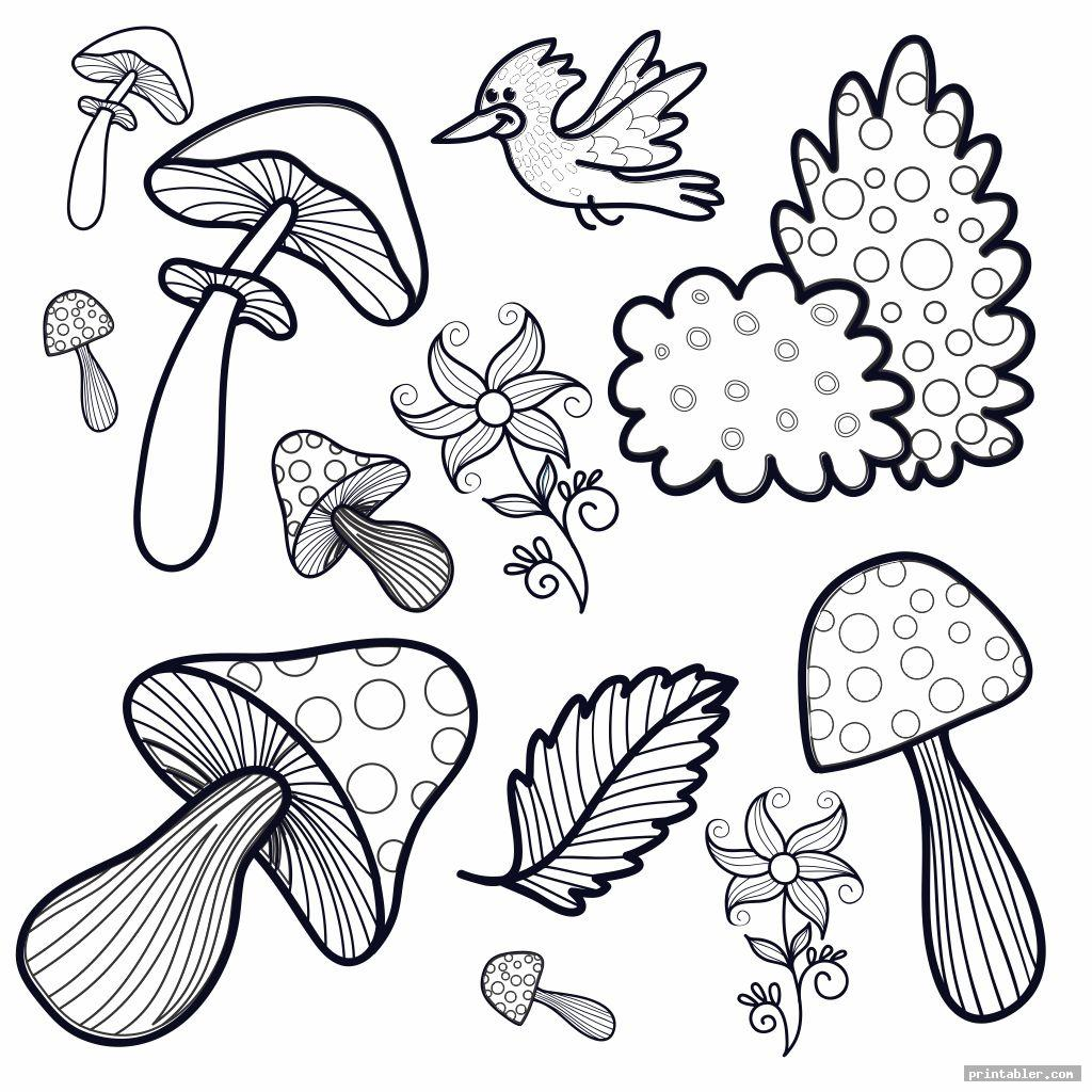 Trippy Mushroom Coloring Pages Printable