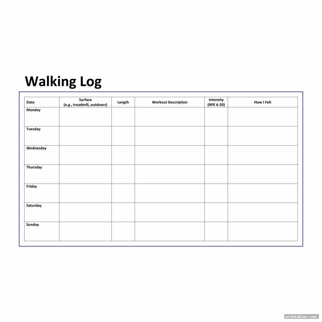 simple walking log printable
