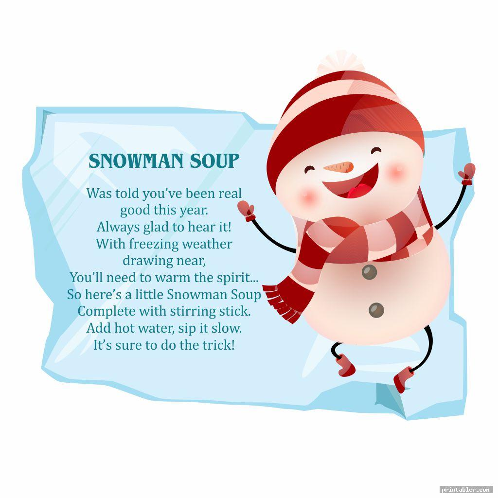 This is an image of Snowman Soup Printable regarding gift