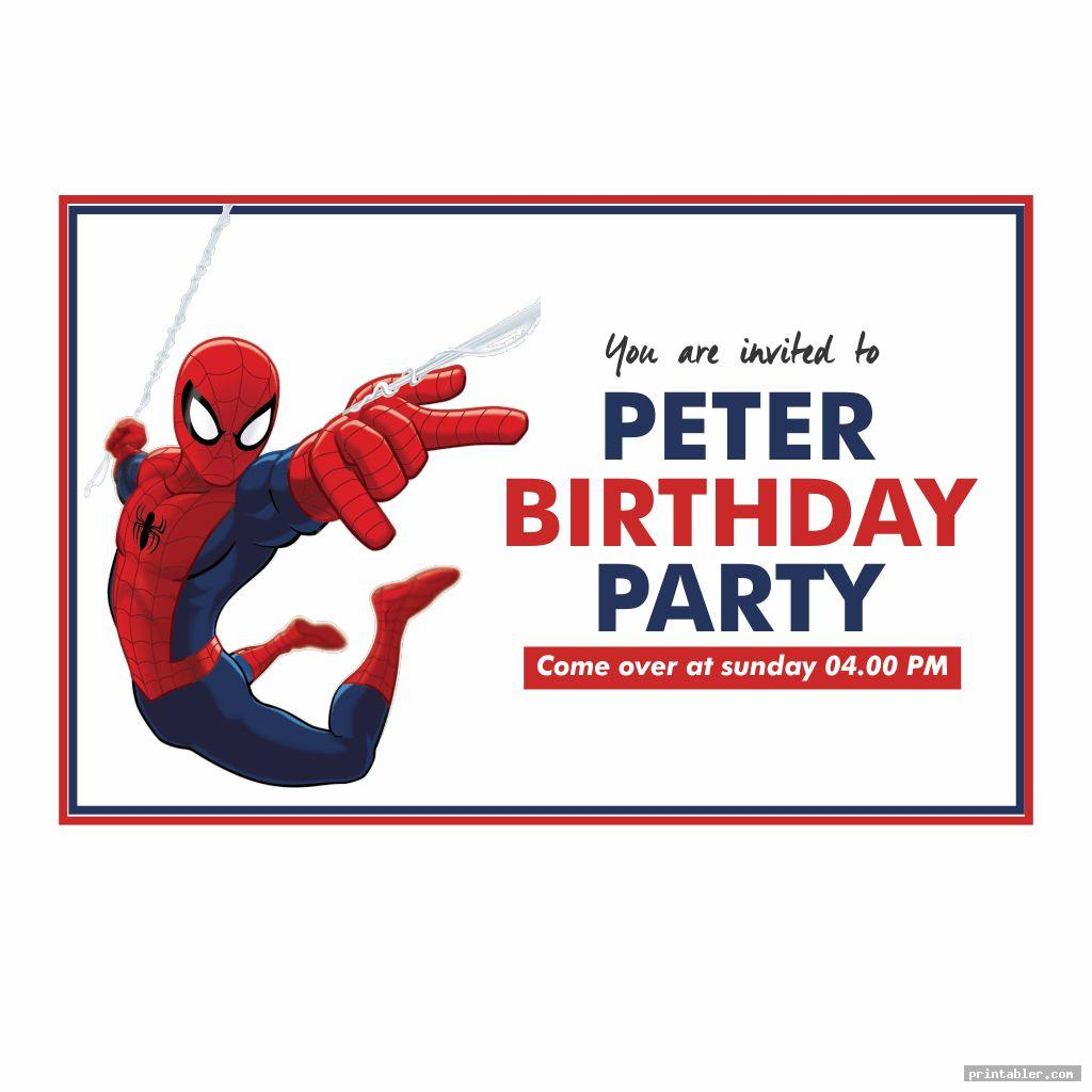 spiderman birthday invitations printable image free