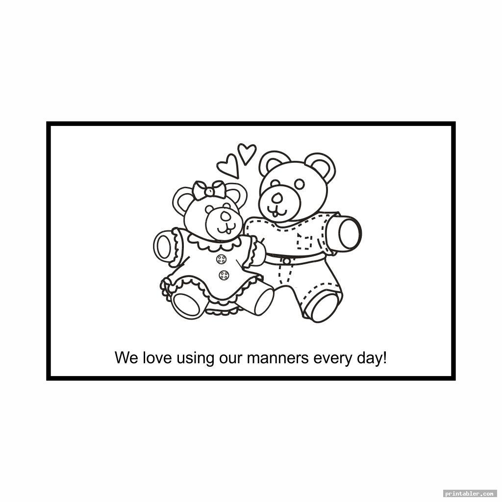 teddy bear good manners coloring pages printable