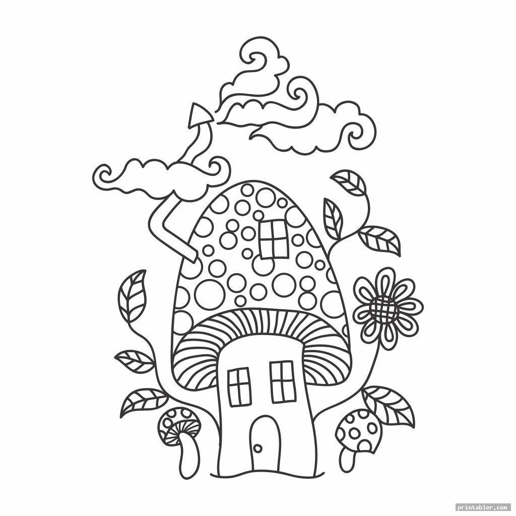 Trippy Mushroom Coloring Pages Printable - Printabler.com