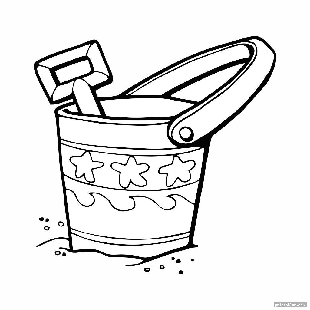 unique sand bucket and shovel coloring page printable