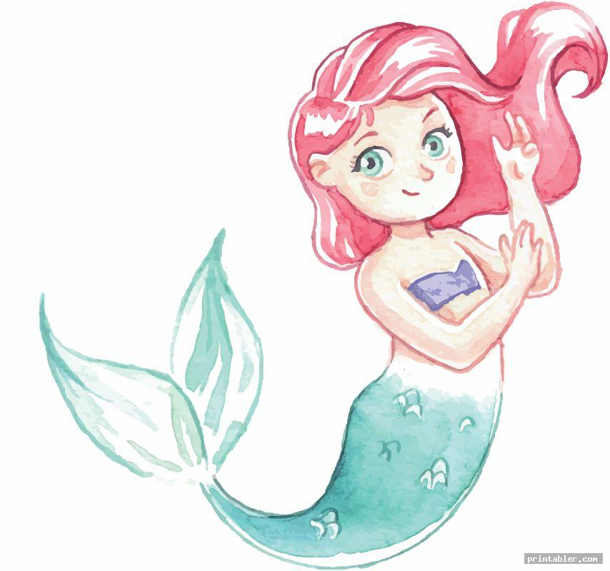 watercolor ariel mermaid s printable