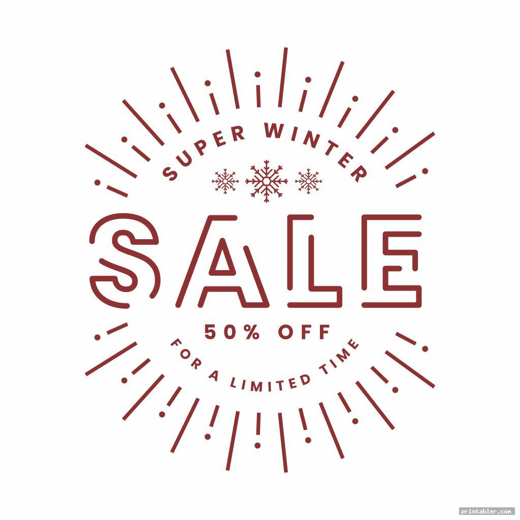 winter clearance sale signs printable