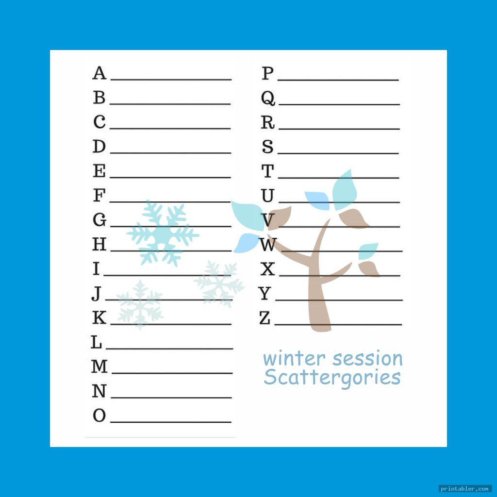 winter time scattergories answer sheets printable