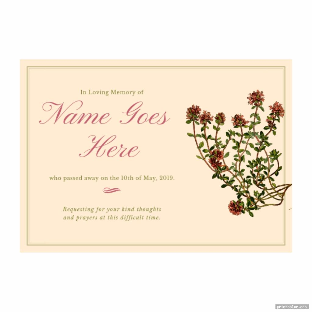 Memorial Cards for Funeral Template Printable