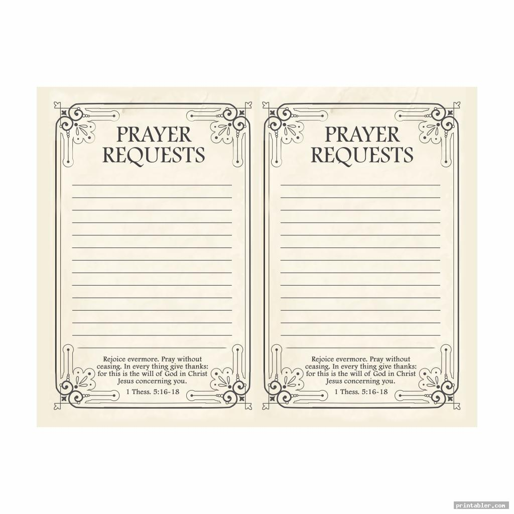 classic prayer request form printable
