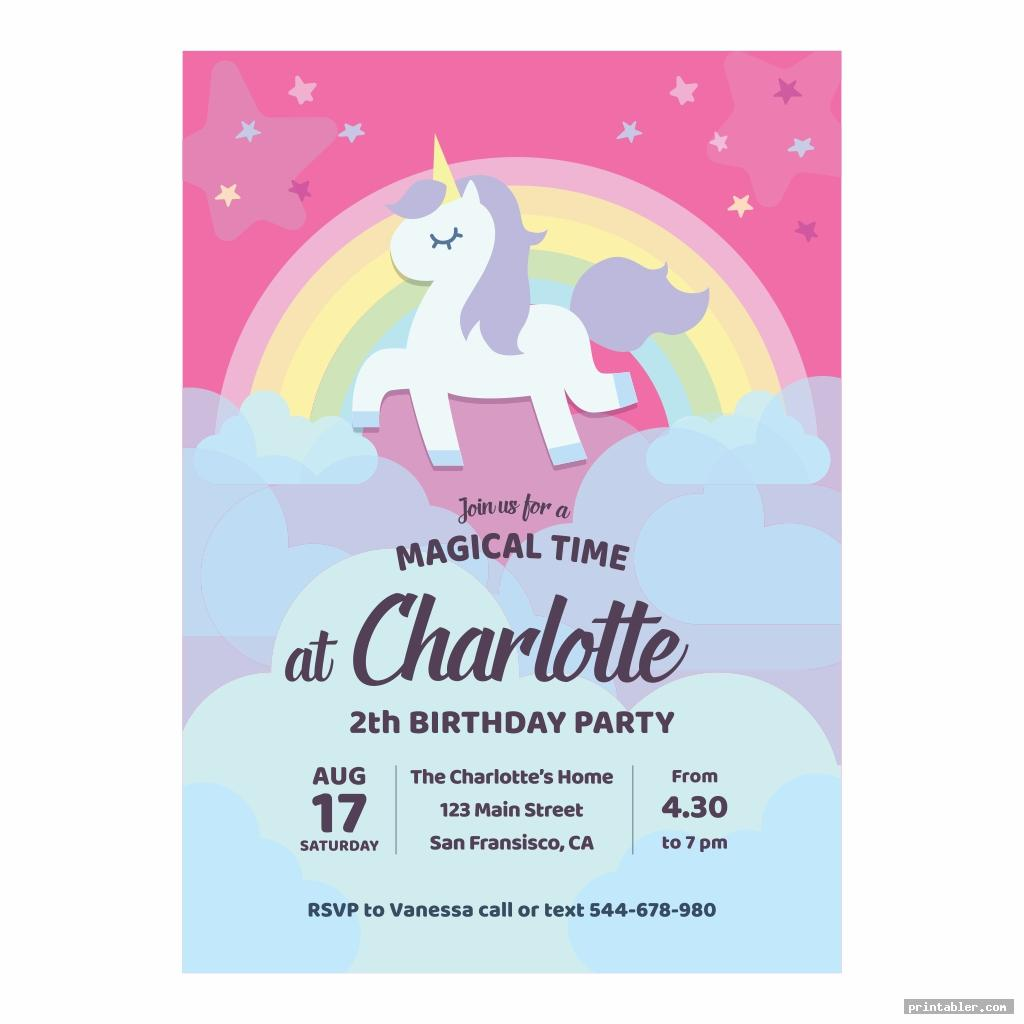 Unicorn Invitations Printable