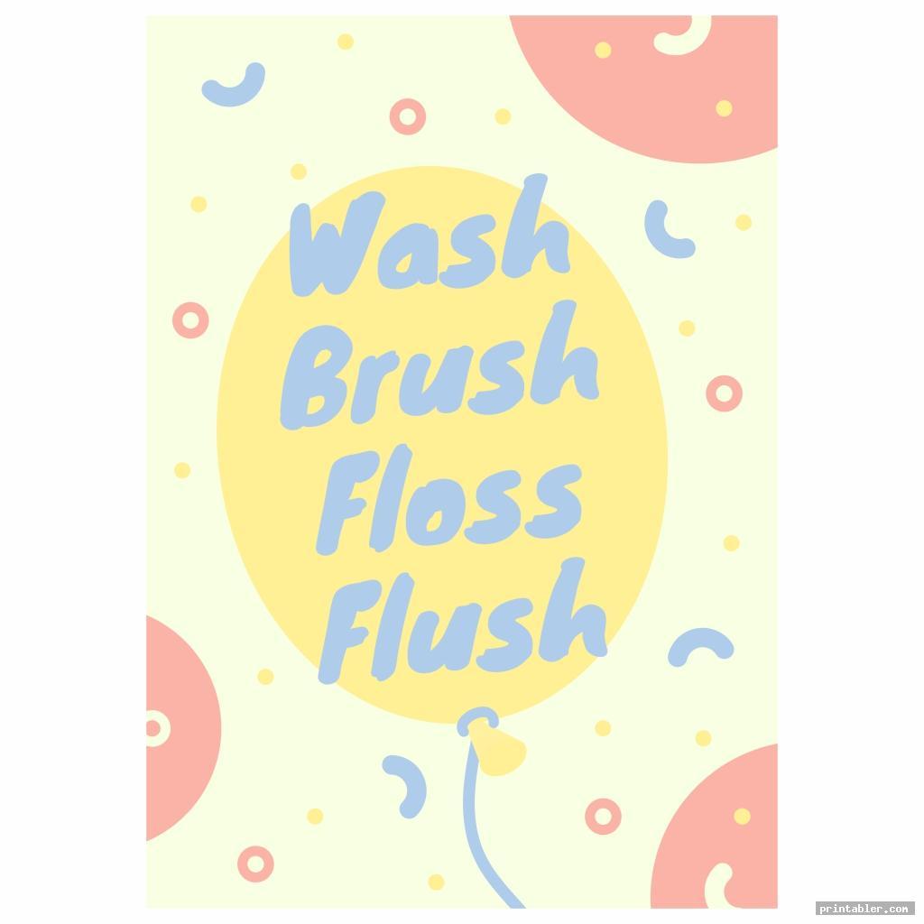 colorful wash brush floss flush printable