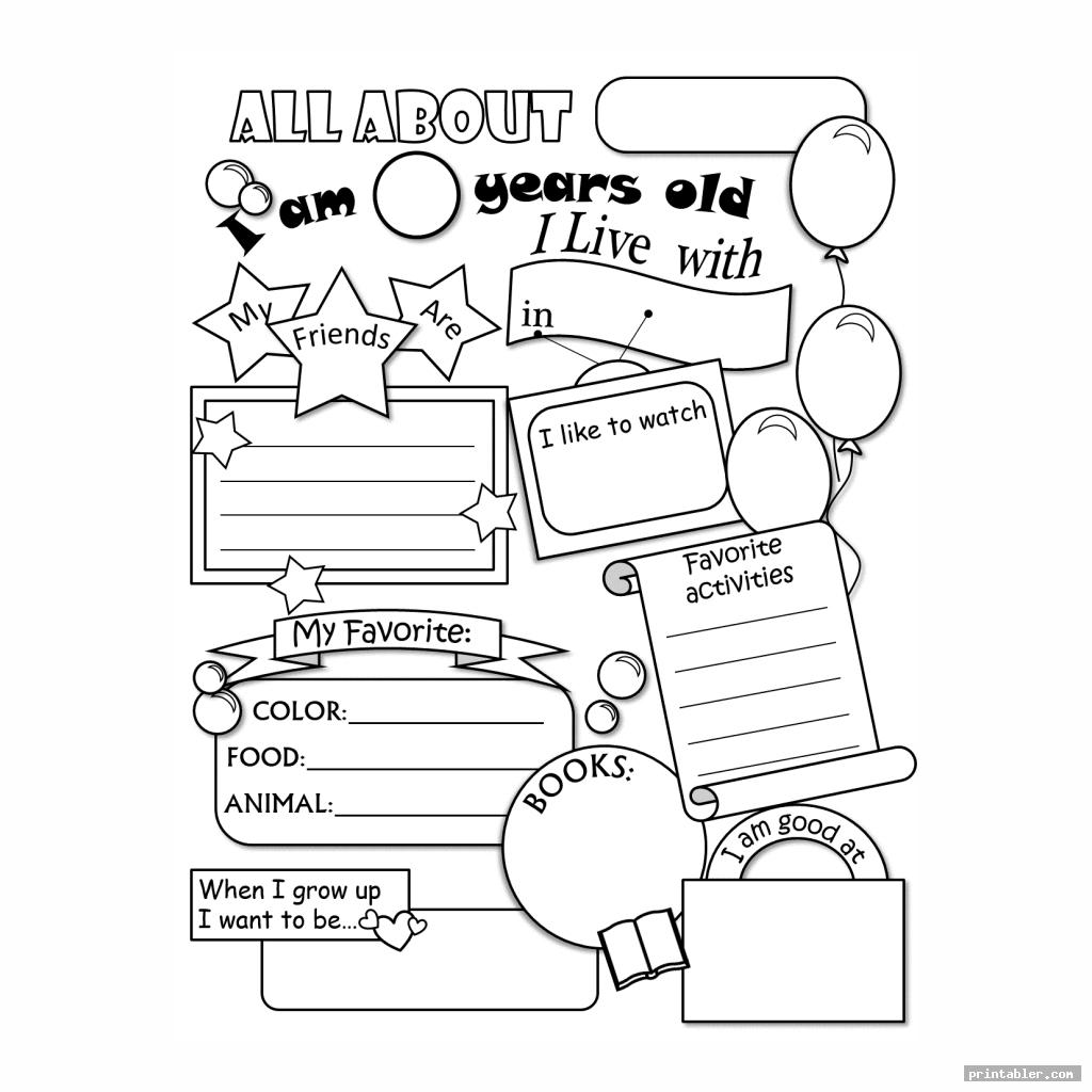 cool all about me printable template