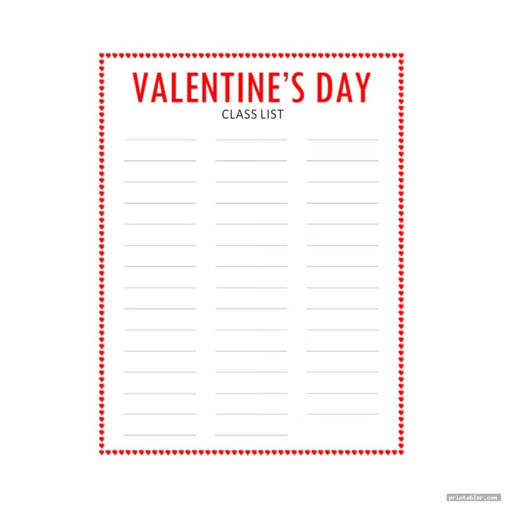 cool valentine day class list printable
