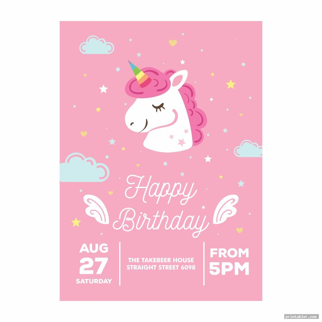 cute unicorn invitations printable