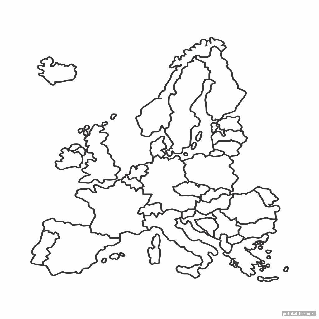 europe map black and white printable image free