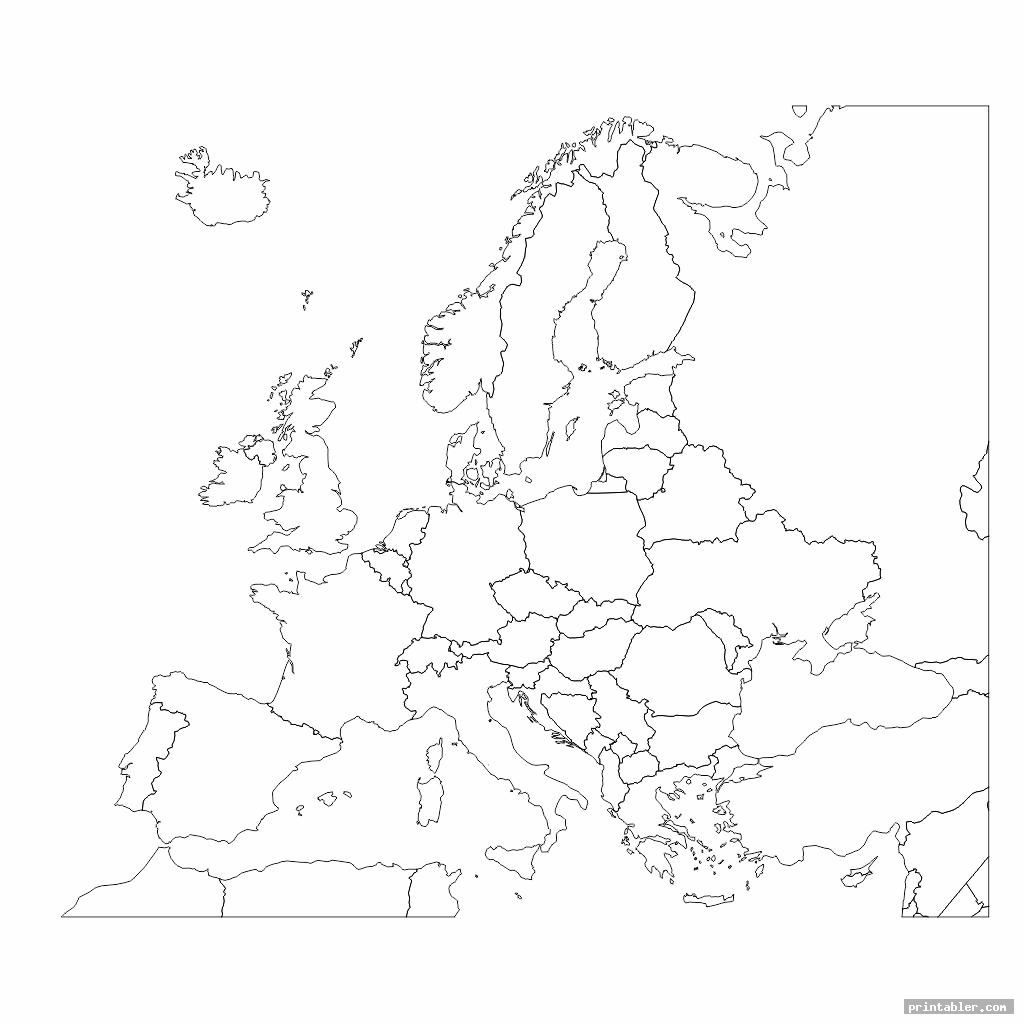 europe map black and white printable template for use