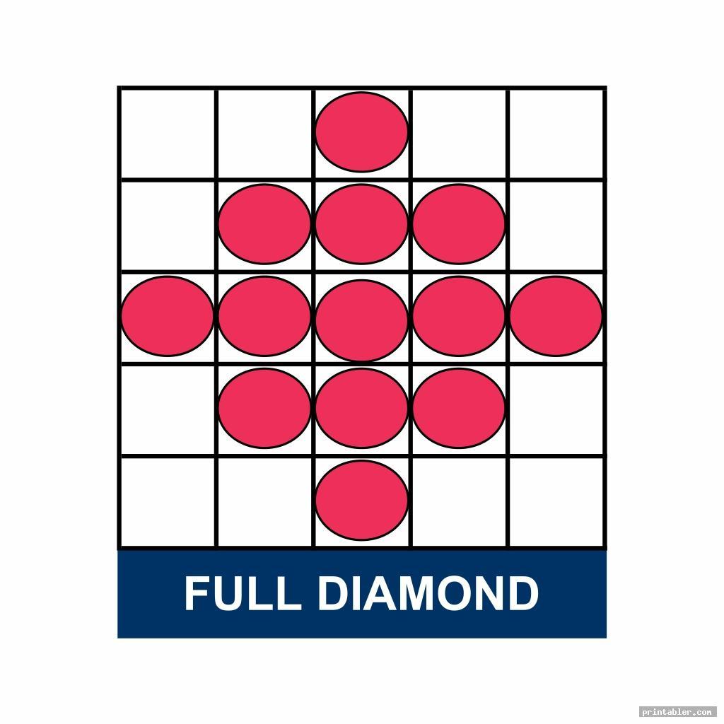 full diamond bingo game patterns printable