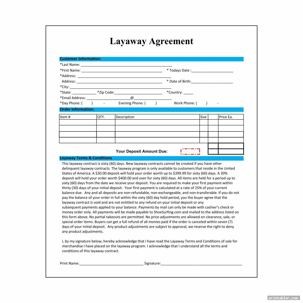 photograph regarding Layaway Forms Printable titled Layaway Deal Template Printable -