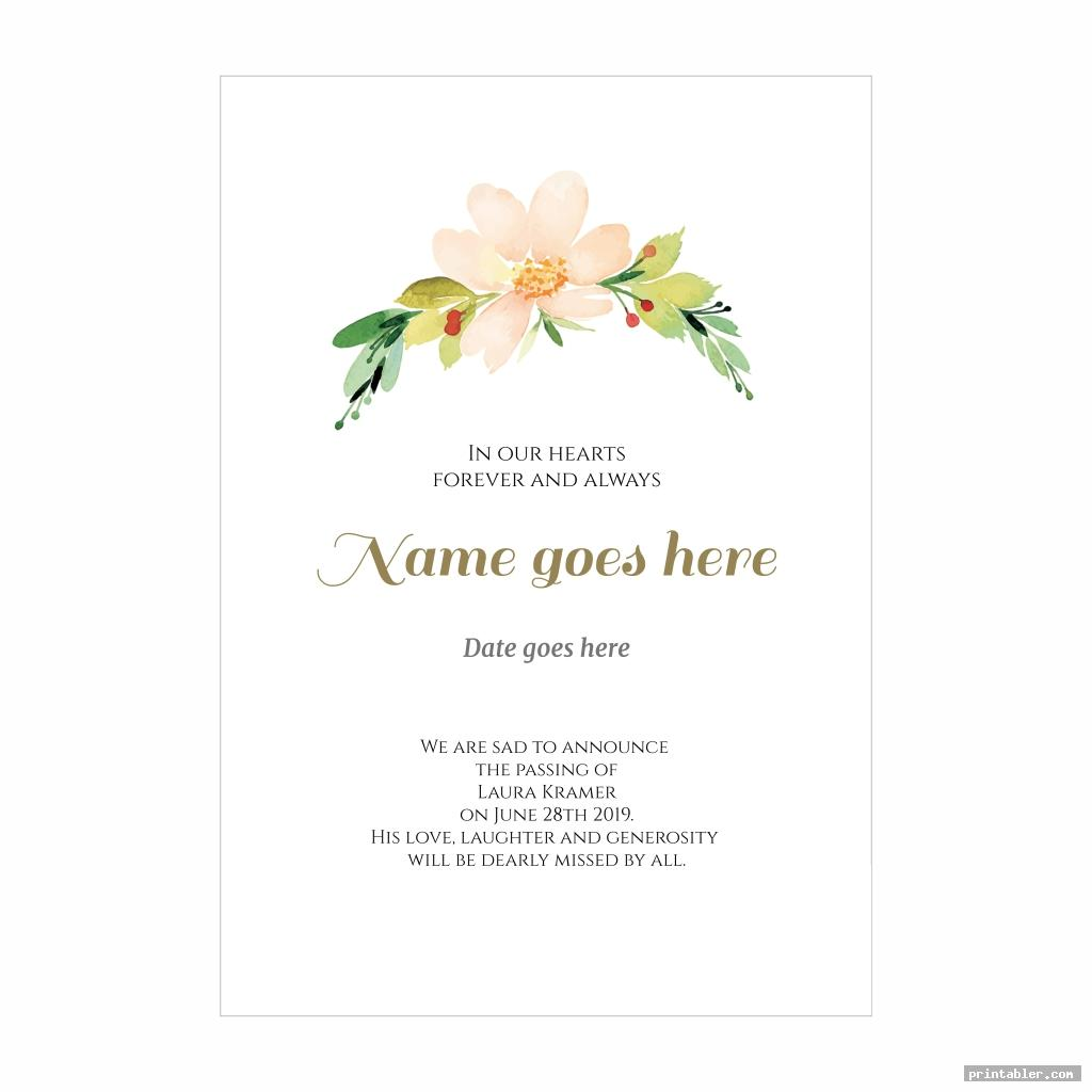 memorial cards for funeral template printable image free