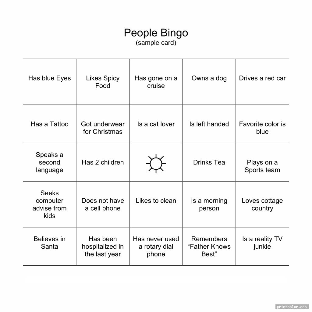 printable human bingo templates for use