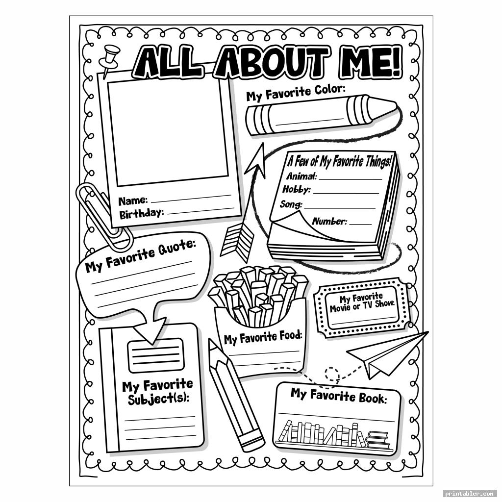 simple all about me printable template