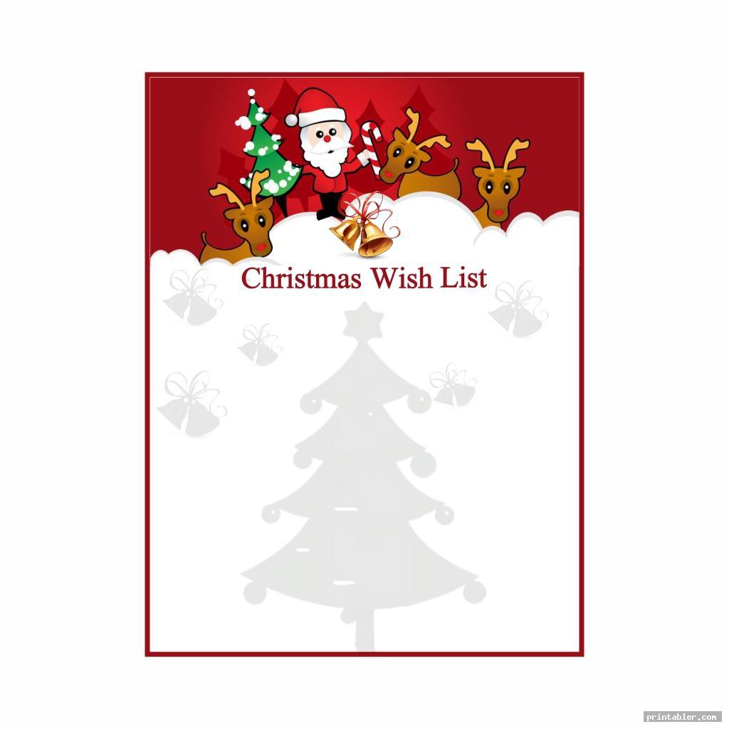 Secret Santa Template Wishlist Printable