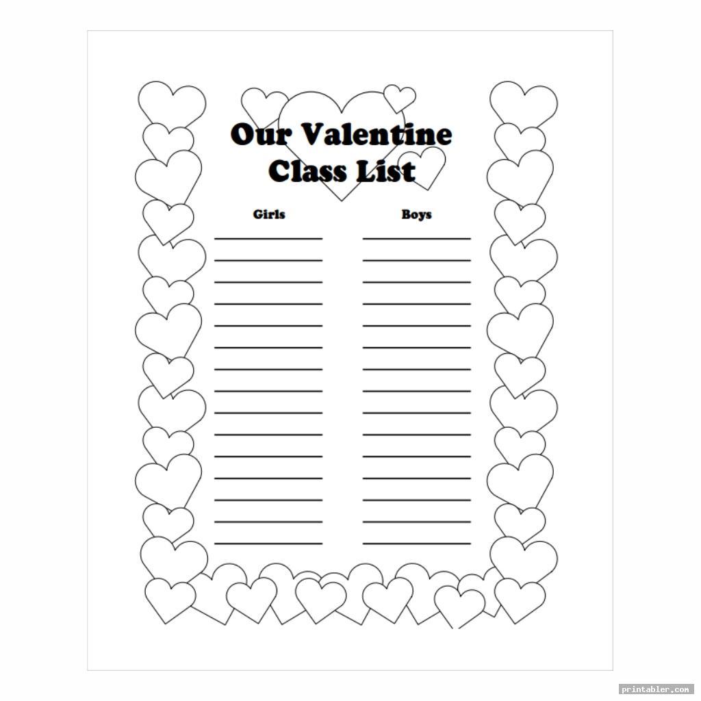 simple valentine day class list printable