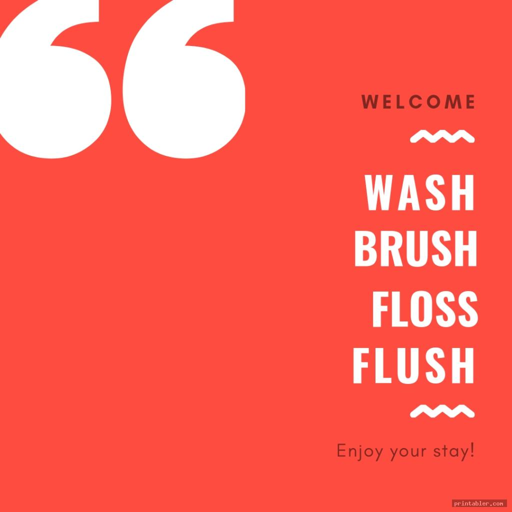 simple wash brush floss flush printable