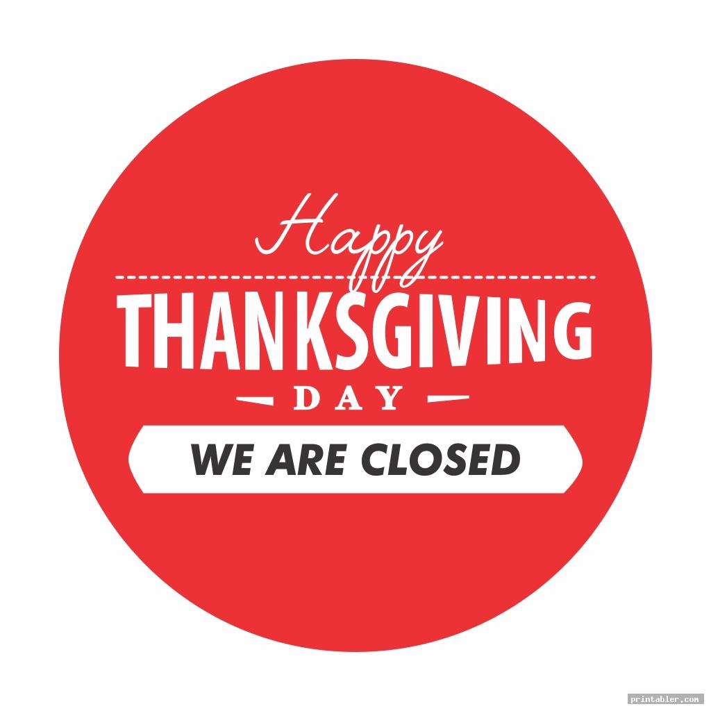 Thanksgiving Closed Sign Printable
