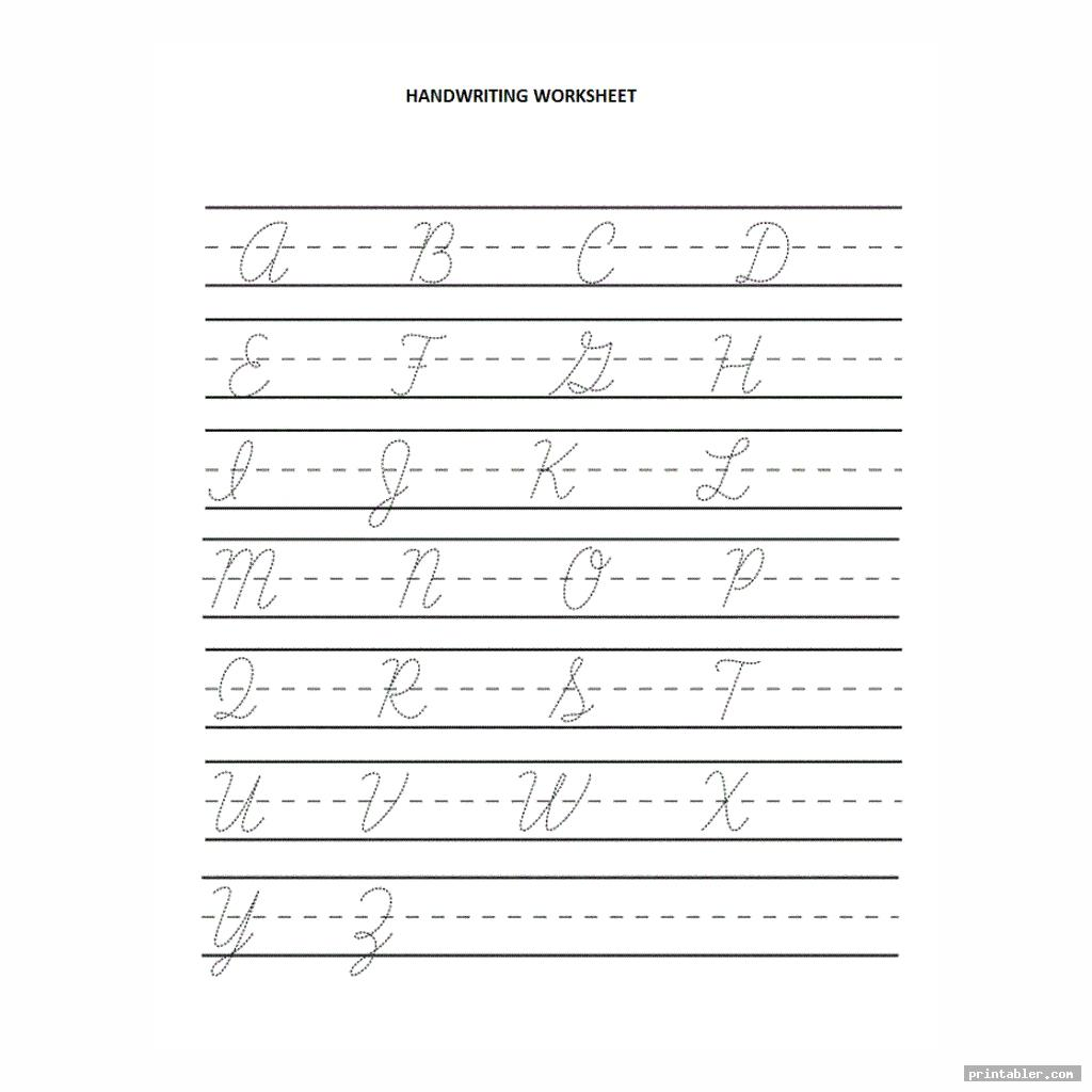 Blank Cursive Worksheets Printable