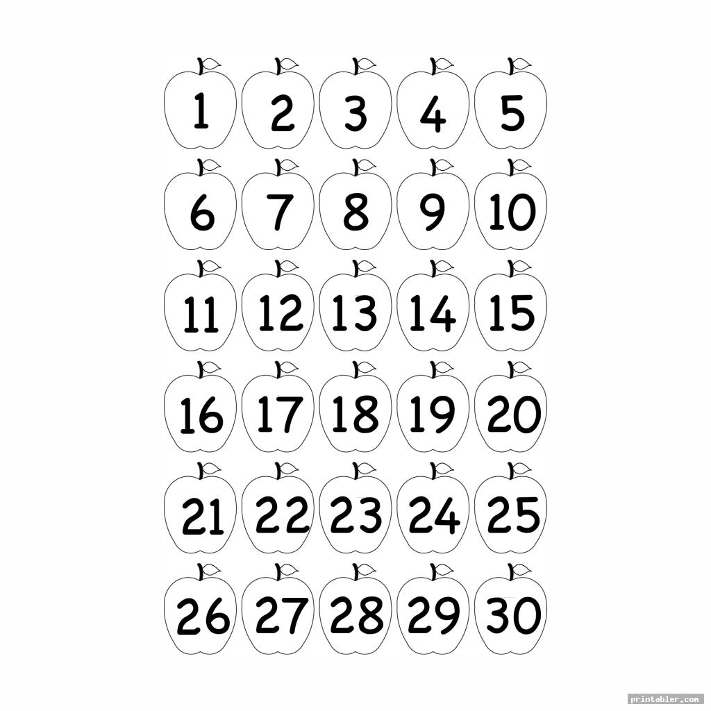 apple printable number chart 1 30