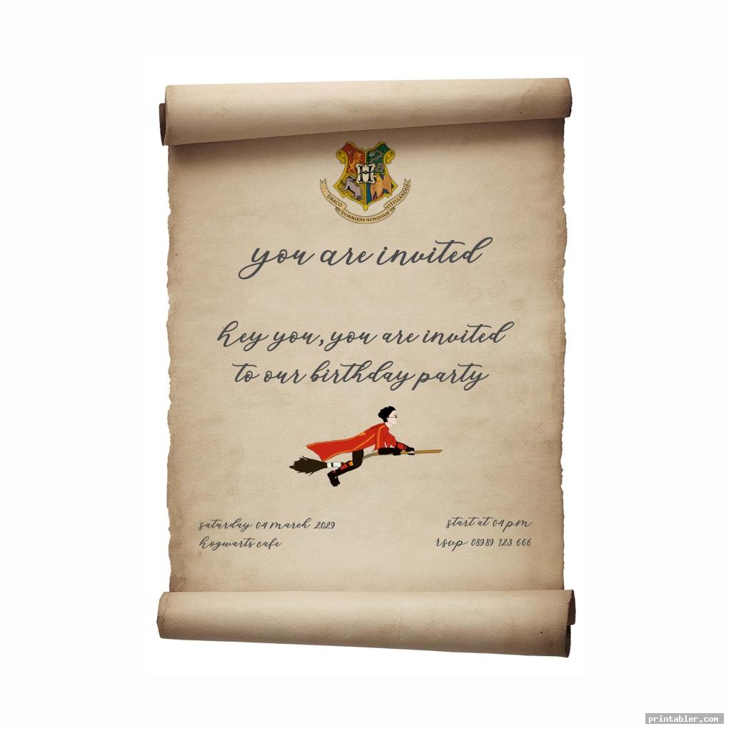Harry Potter Invitation Printable