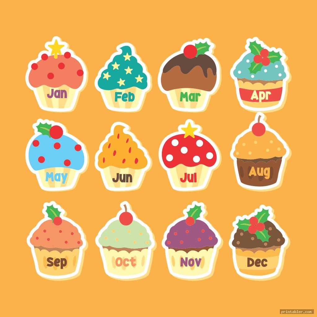 colorful monthly birthday cupcake printables