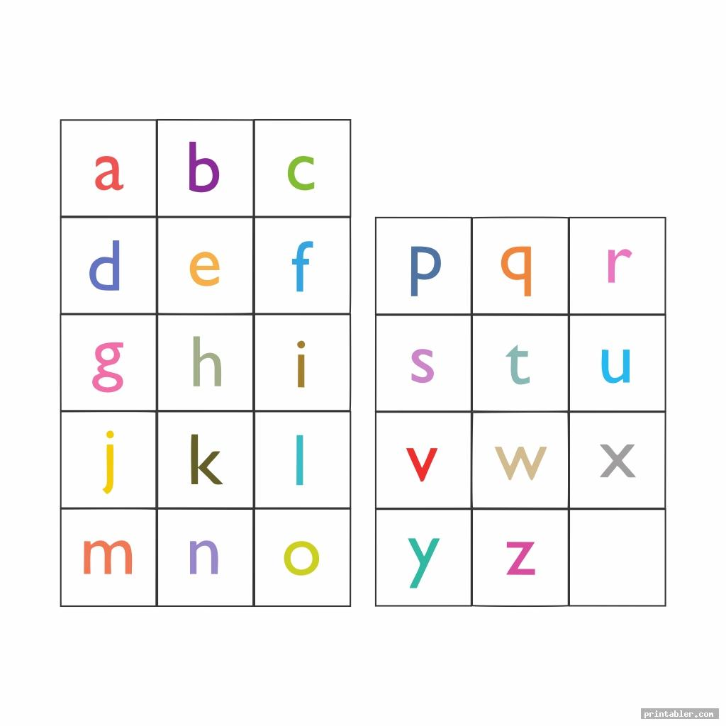 colorful printable lower case alphabet flash cards
