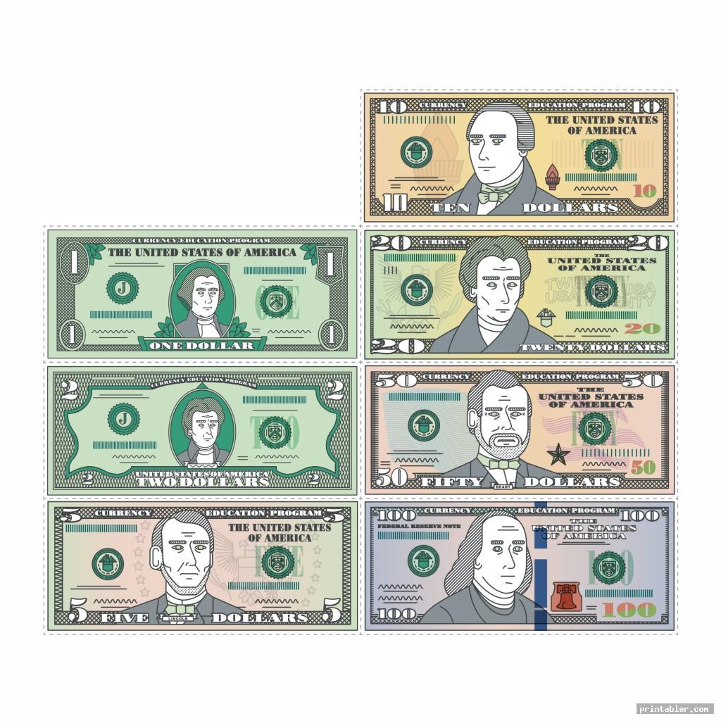 colorful printable phony money
