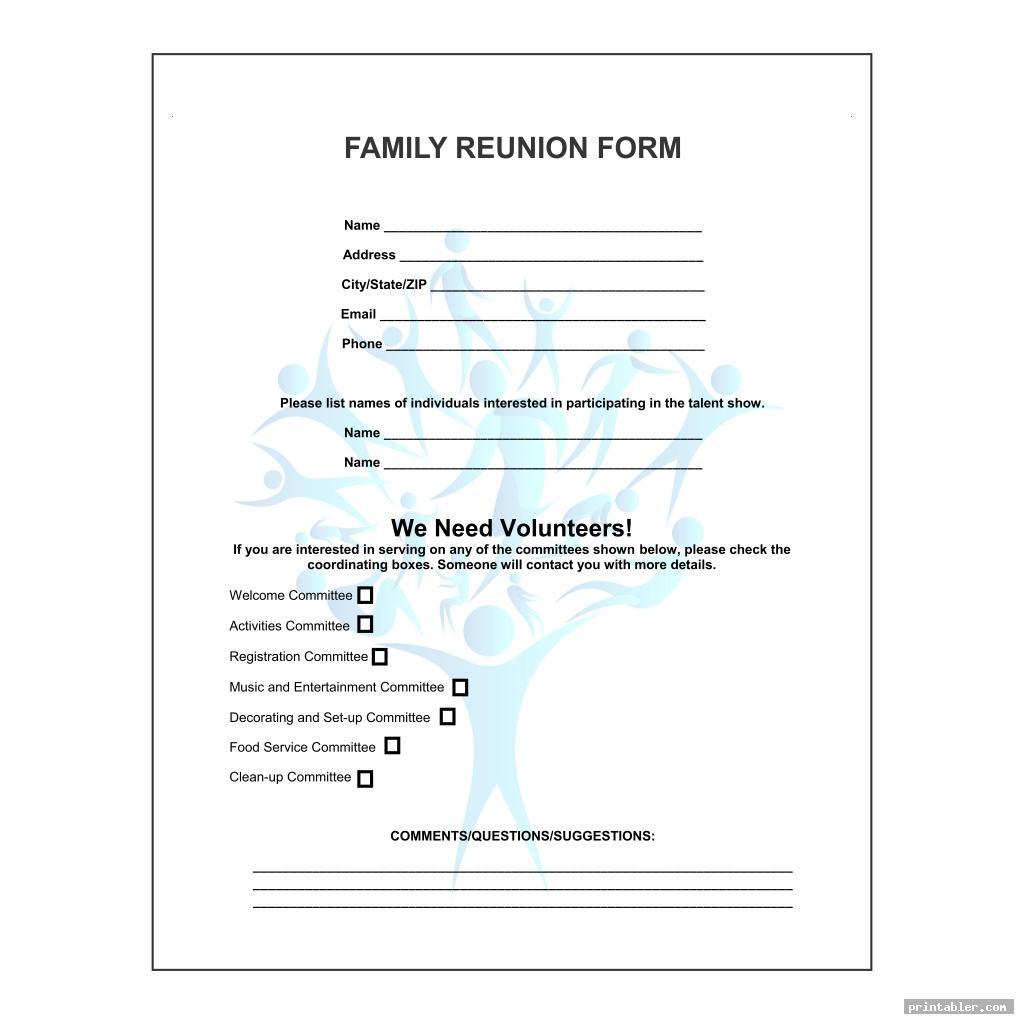 cool family reunion forms printable