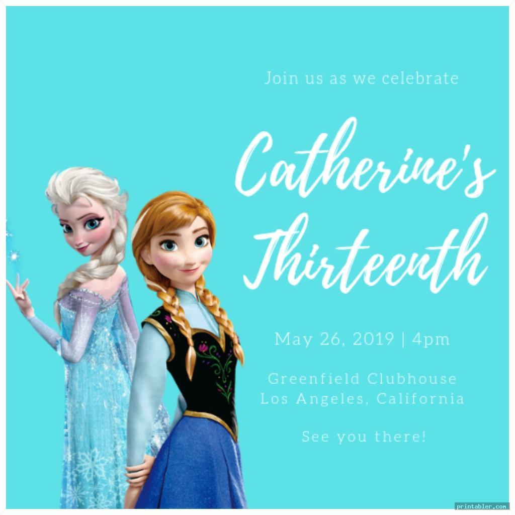 frozen birthday invitations printable image free