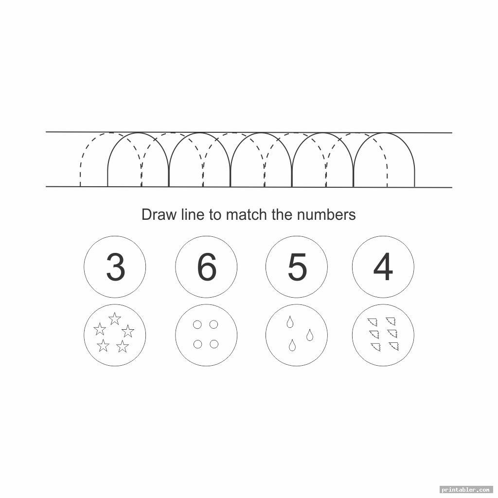 match the number pre writing skills printable worksheet